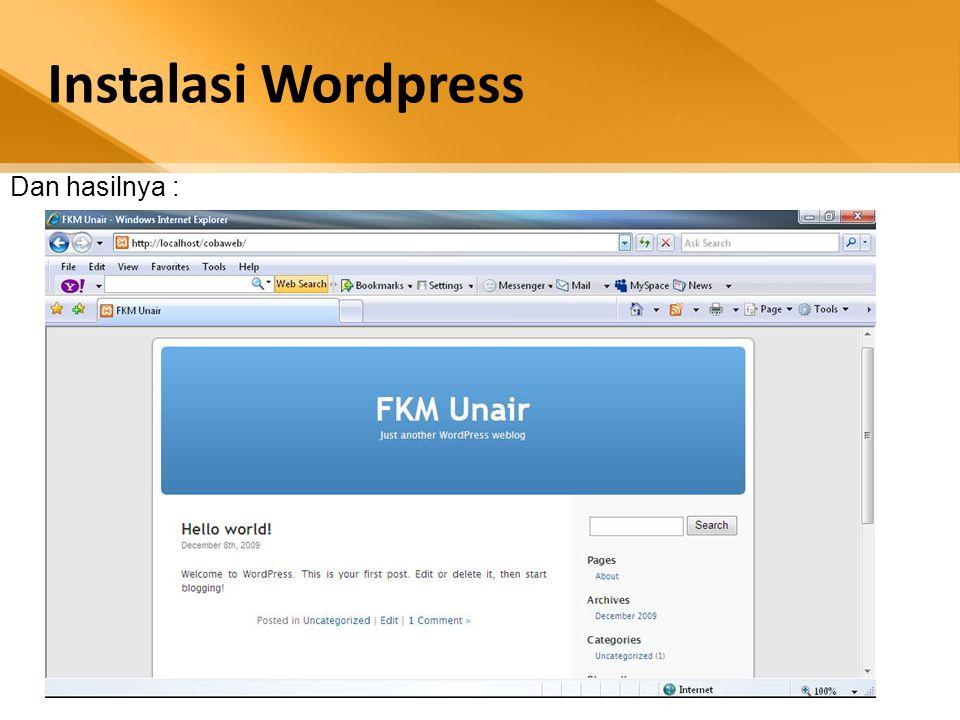 Instalasi Wordpress Dan hasilnya :