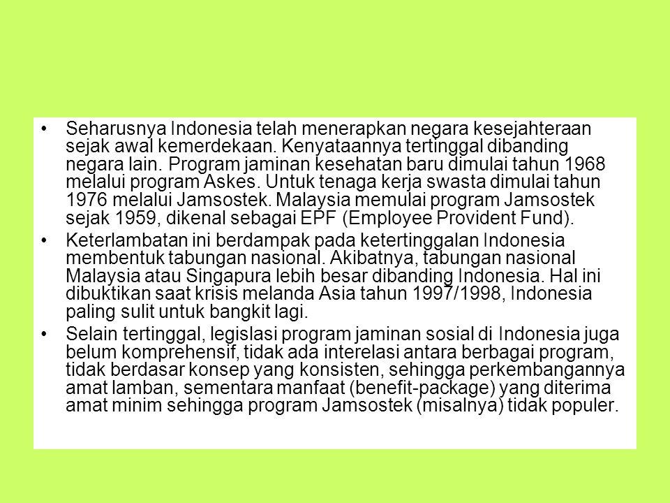 Seharusnya Indonesia telah menerapkan negara kesejahteraan sejak awal kemerdekaan. Kenyataannya tertinggal dibanding negara lain. Program jaminan kese