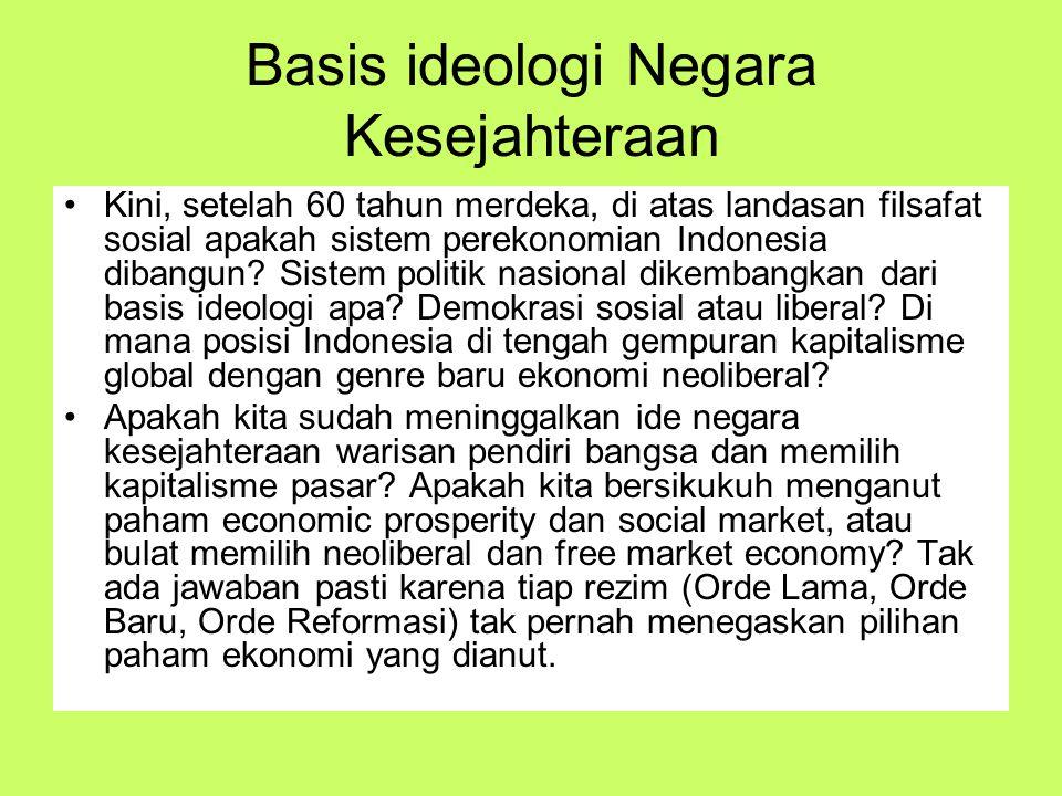 Basis ideologi Negara Kesejahteraan Kini, setelah 60 tahun merdeka, di atas landasan filsafat sosial apakah sistem perekonomian Indonesia dibangun? Si