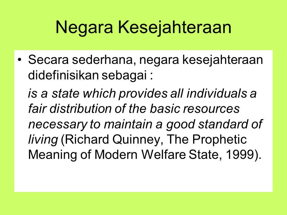 Negara Kesejahteraan Secara sederhana, negara kesejahteraan didefinisikan sebagai : is a state which provides all individuals a fair distribution of t