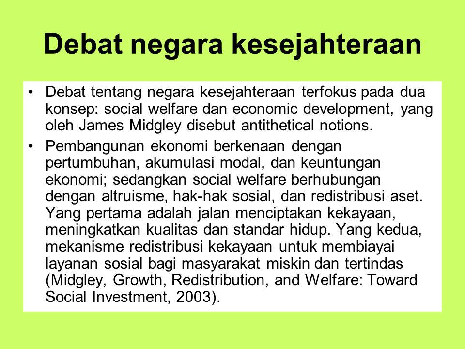 Debat negara kesejahteraan Debat tentang negara kesejahteraan terfokus pada dua konsep: social welfare dan economic development, yang oleh James Midgl