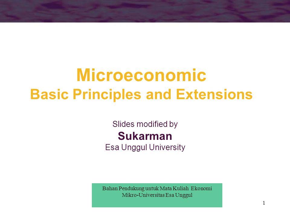 1 Microeconomic Basic Principles and Extensions Slides modified by Sukarman Esa Unggul University Bahan Pendukung untuk Mata Kuliah Ekonomi Mikro-Univ