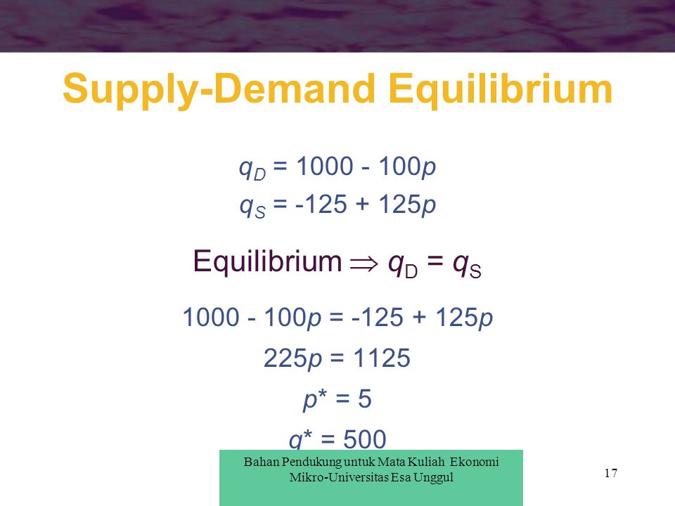 17 Supply-Demand Equilibrium q D = 1000 - 100p q S = -125 + 125p Equilibrium  q D = q S 1000 - 100p = -125 + 125p 225p = 1125 p* = 5 q* = 500 Bahan P