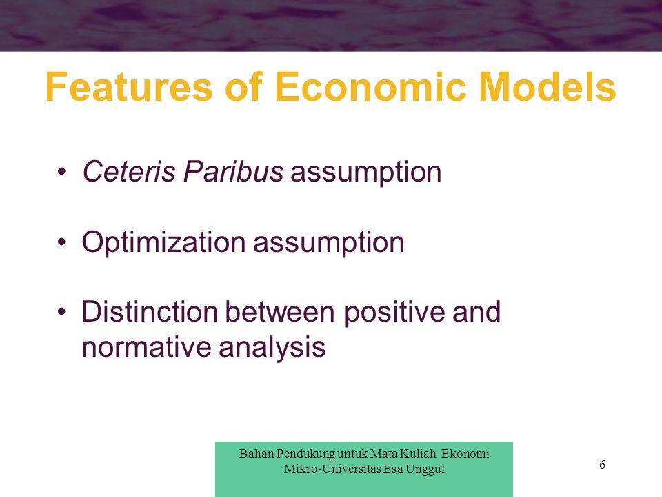 6 Features of Economic Models Ceteris Paribus assumption Optimization assumption Distinction between positive and normative analysis Bahan Pendukung u