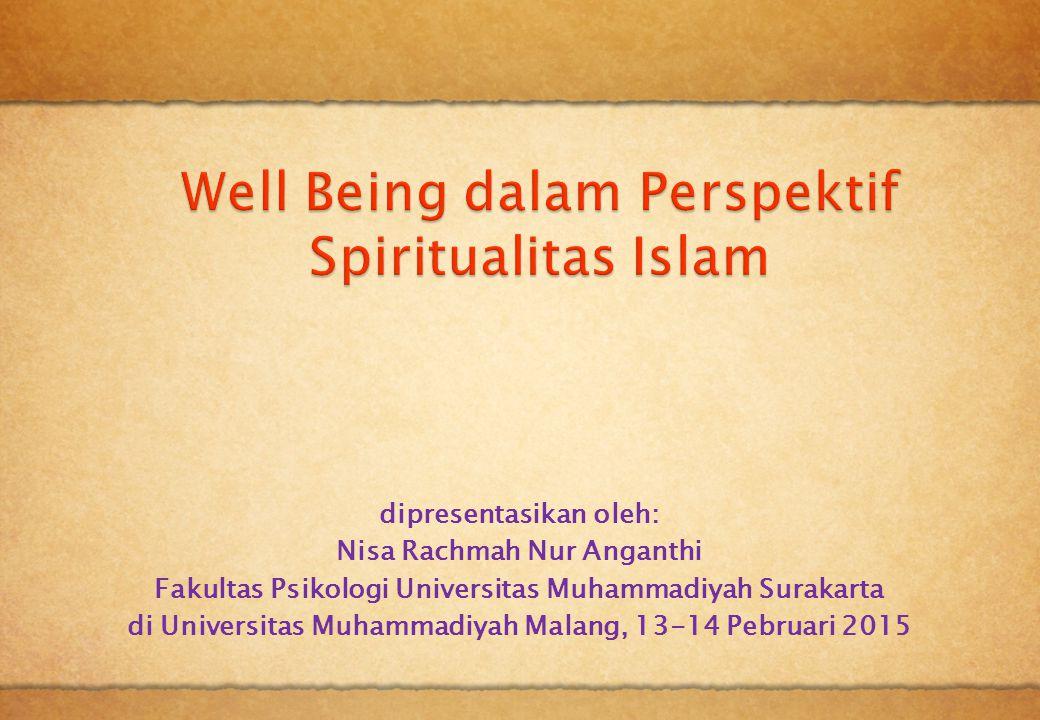 Kajian Teori Penelitian sebelumnya  Riset tentang spiritualitas, religiusitas dan wellbeing: Hasil riset dari Ivtzan dkk dapat disimpulkan bahwa ada empat kategori individu, yaitu: 1.