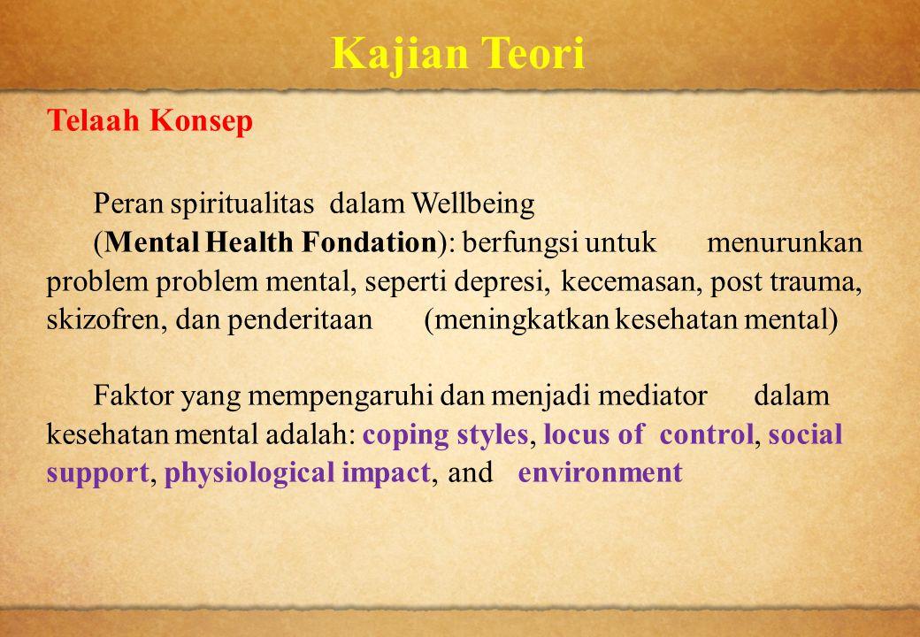 Kajian Teori Telaah Konsep Peran spiritualitas dalam Wellbeing (Mental Health Fondation): berfungsi untuk menurunkan problem problem mental, seperti d