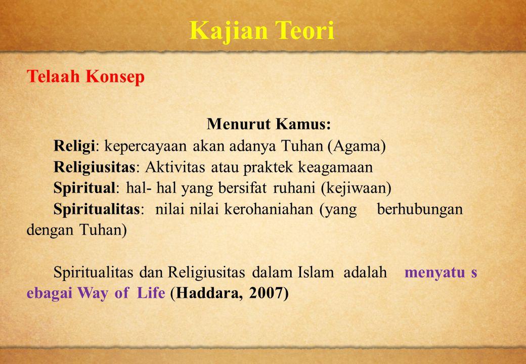 Kajian Teori Telaah Konsep Menurut Kamus: Religi: kepercayaan akan adanya Tuhan (Agama) Religiusitas: Aktivitas atau praktek keagamaan Spiritual: hal-