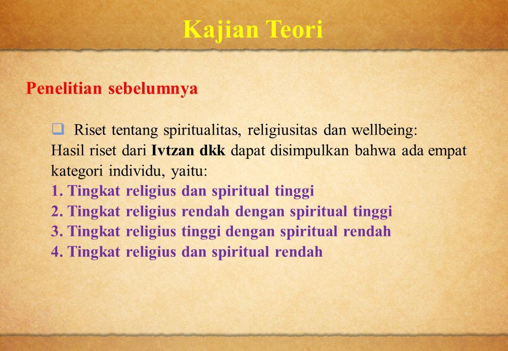 Kajian Teori Penelitian sebelumnya  Riset tentang spiritualitas, religiusitas dan wellbeing: Hasil riset dari Ivtzan dkk dapat disimpulkan bahwa ada