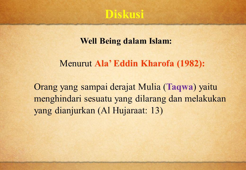 Diskusi Well Being dalam Islam: Menurut Ala' Eddin Kharofa (1982): Orang yang sampai derajat Mulia (Taqwa) yaitu menghindari sesuatu yang dilarang dan