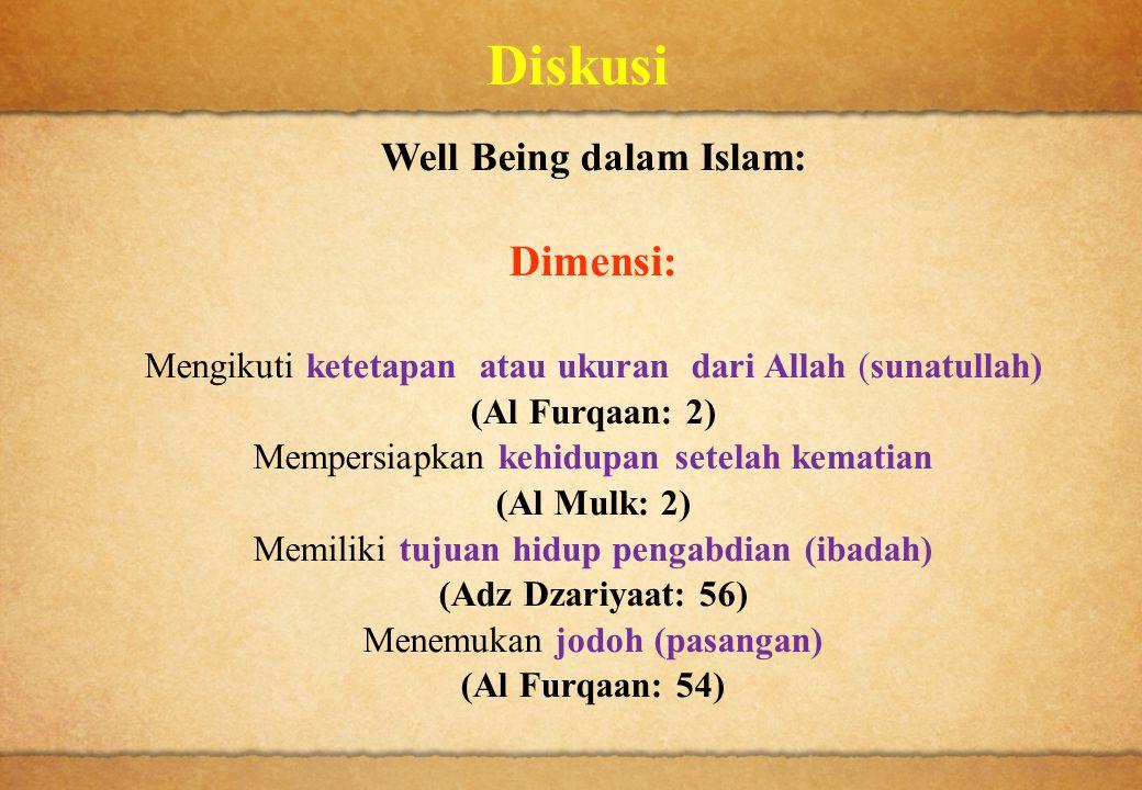 Diskusi Well Being dalam Islam: Dimensi: Mengikuti ketetapan atau ukuran dari Allah (sunatullah) (Al Furqaan: 2) Mempersiapkan kehidupan setelah kemat