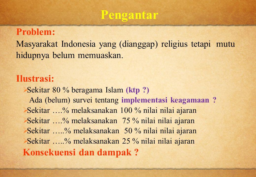 Pengantar Problem: Masyarakat Indonesia yang (dianggap) religius tetapi mutu hidupnya belum memuaskan. Ilustrasi:  Sekitar 80 % beragama Islam (ktp ?