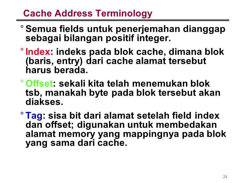 24 Cache Address Terminology °Semua fields untuk penerjemahan dianggap sebagai bilangan positif integer. °Index: indeks pada blok cache, dimana blok (