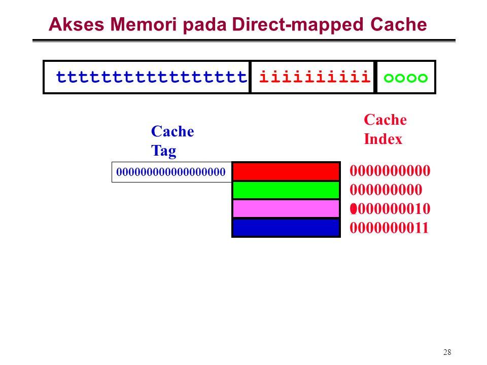 28 Akses Memori pada Direct-mapped Cache Cache Index 0000000000 000000000 1 0000000010 0000000011 Cache Tag ttttttttttttttttt iiiiiiiiii oooo 00000000