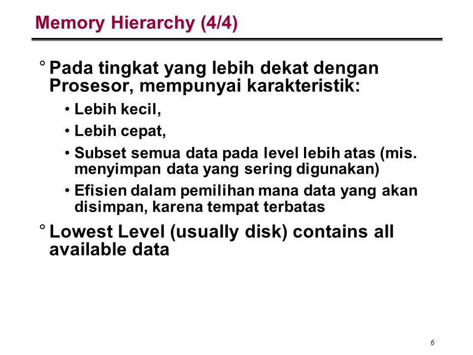 7 Memory Hierarchy Analogy: Library (1/2) °You're writing a term paper (Processor) at a table in Doe °Doe Library is equivalent to disk essentially limitless capacity very slow to retrieve a book °Table is memory smaller capacity: means you must return book when table fills up easier and faster to find a book there once you've already retrieved it