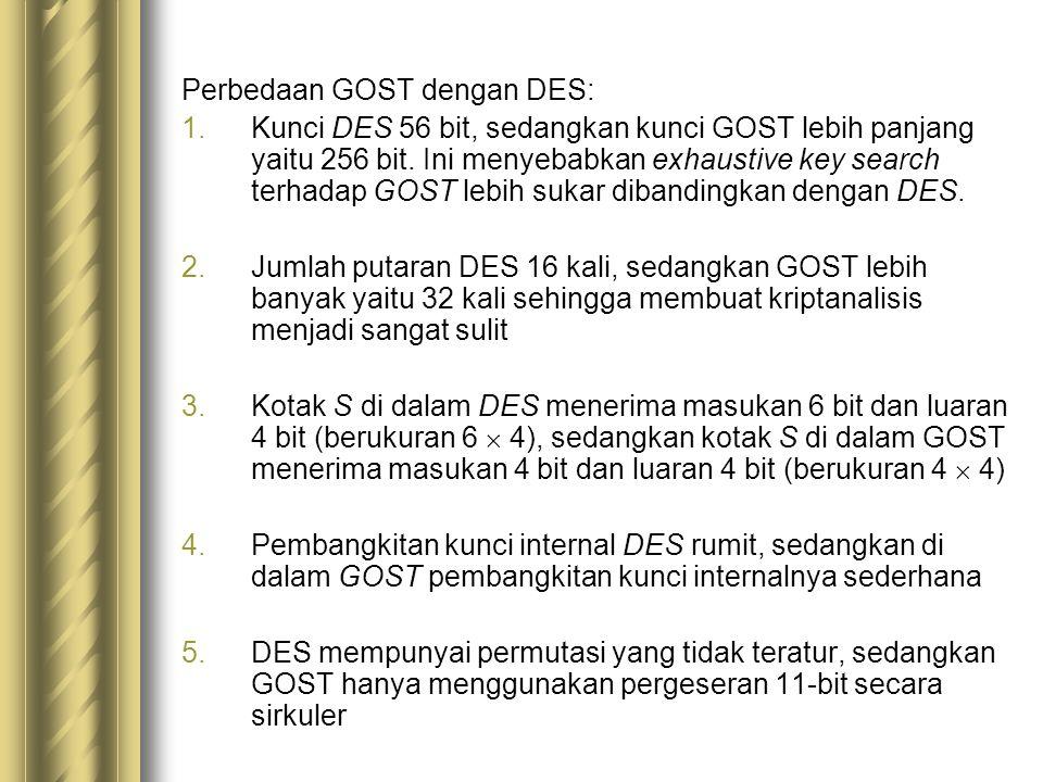 Perbedaan GOST dengan DES: 1.Kunci DES 56 bit, sedangkan kunci GOST lebih panjang yaitu 256 bit. Ini menyebabkan exhaustive key search terhadap GOST l