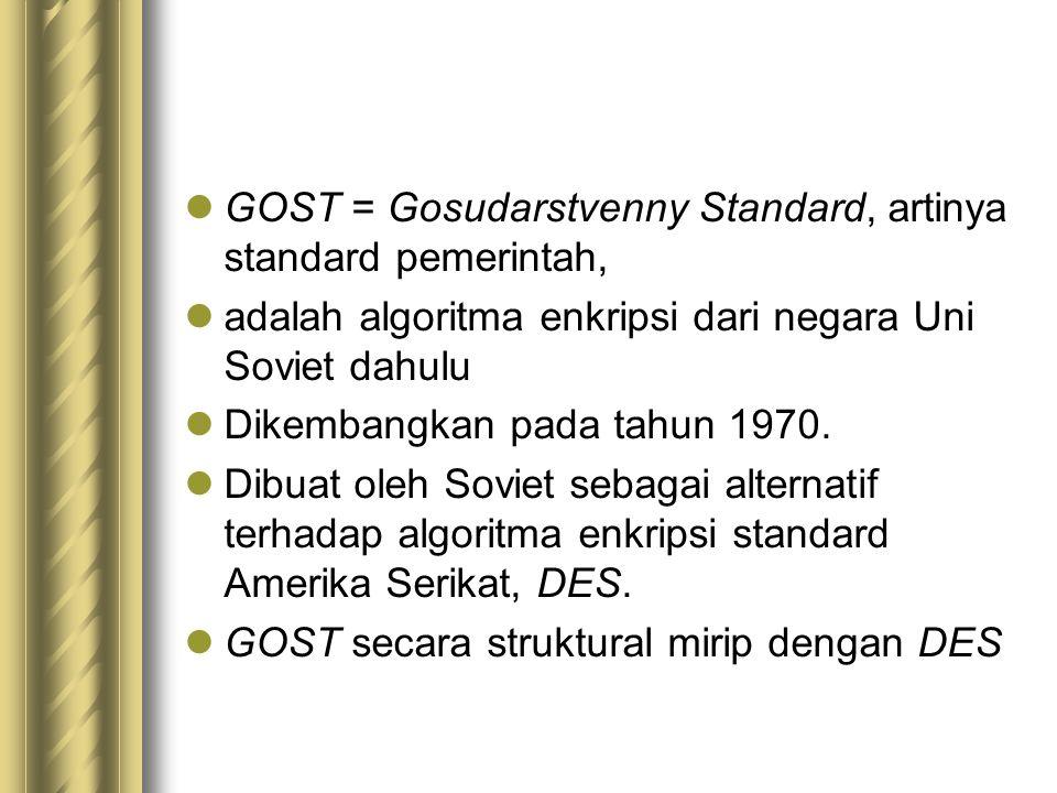 GOST = Gosudarstvenny Standard, artinya standard pemerintah, adalah algoritma enkripsi dari negara Uni Soviet dahulu Dikembangkan pada tahun 1970. Dib