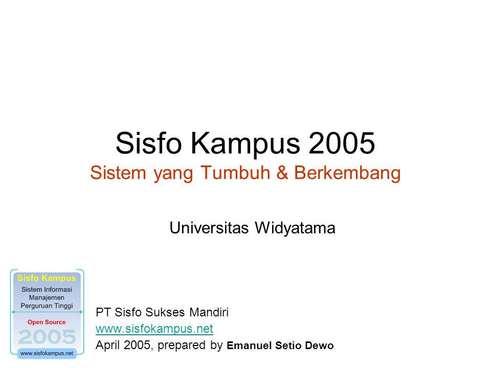 Sisfo Kampus 2005 Sistem yang Tumbuh & Berkembang PT Sisfo Sukses Mandiri www.sisfokampus.net April 2005, prepared by Emanuel Setio Dewo Universitas Widyatama