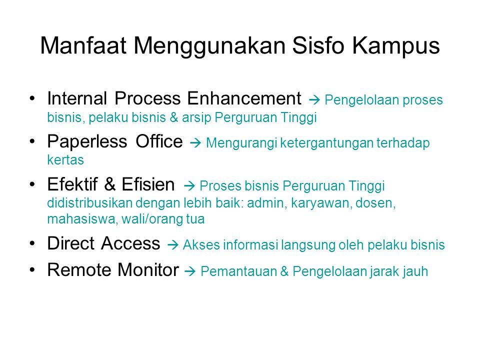 Manfaat Menggunakan Sisfo Kampus Internal Process Enhancement  Pengelolaan proses bisnis, pelaku bisnis & arsip Perguruan Tinggi Paperless Office  M