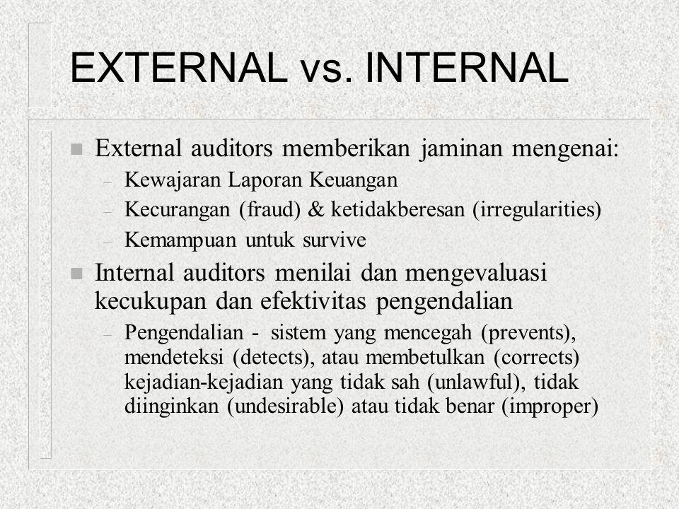 EXTERNAL vs. INTERNAL n External auditors memberikan jaminan mengenai: – Kewajaran Laporan Keuangan – Kecurangan (fraud) & ketidakberesan (irregularit