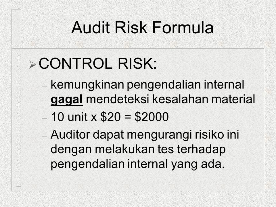  CONTROL RISK: – kemungkinan pengendalian internal gagal mendeteksi kesalahan material – 10 unit x $20 = $2000 – Auditor dapat mengurangi risiko ini