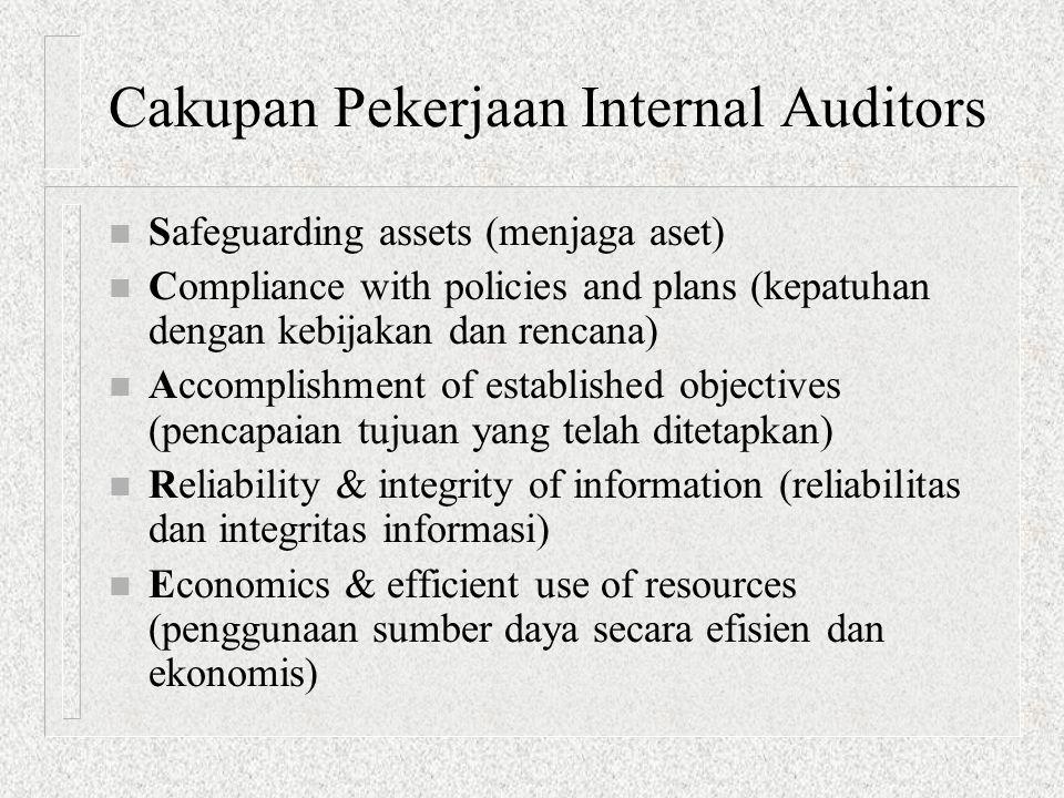 Cakupan Pekerjaan Internal Auditors n Safeguarding assets (menjaga aset) n Compliance with policies and plans (kepatuhan dengan kebijakan dan rencana)