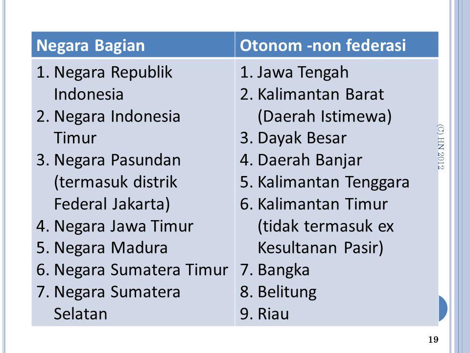 19 Negara BagianOtonom -non federasi 1.Negara Republik Indonesia 2.Negara Indonesia Timur 3.Negara Pasundan (termasuk distrik Federal Jakarta) 4.Negar