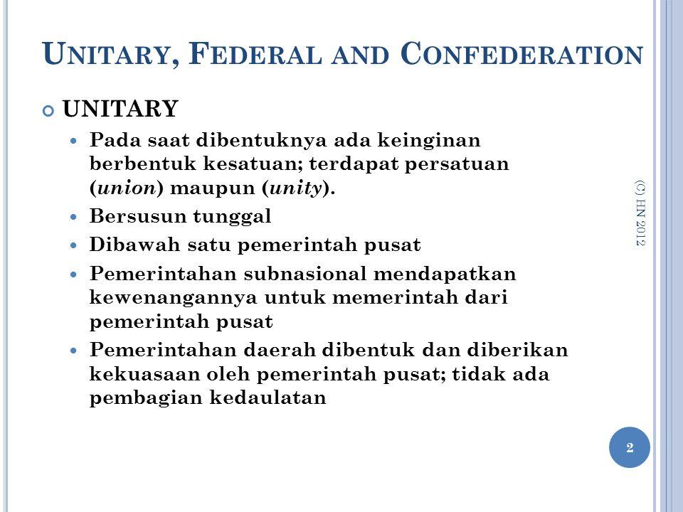 U NITARY, F EDERAL AND C ONFEDERATION UNITARY Pada saat dibentuknya ada keinginan berbentuk kesatuan; terdapat persatuan ( union ) maupun ( unity ). B