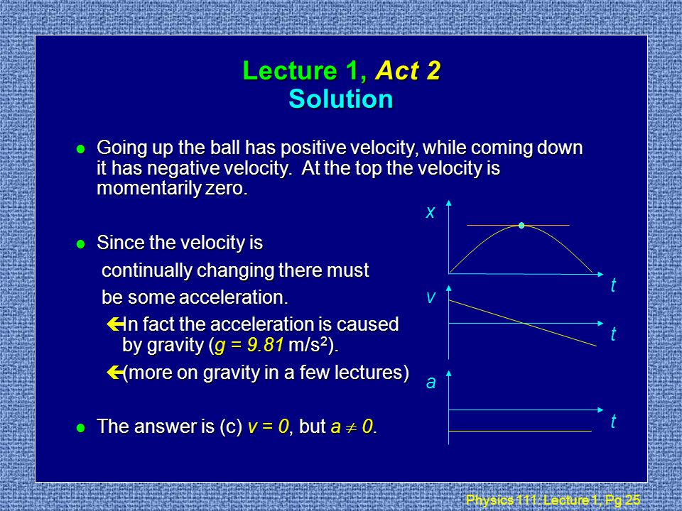 Physics 111: Lecture 1, Pg 24 Lecture 1, Act 2 Motion in One Dimension l When throwing a ball straight up, which of the following is true about its velocity v and its acceleration a at the highest point in its path.