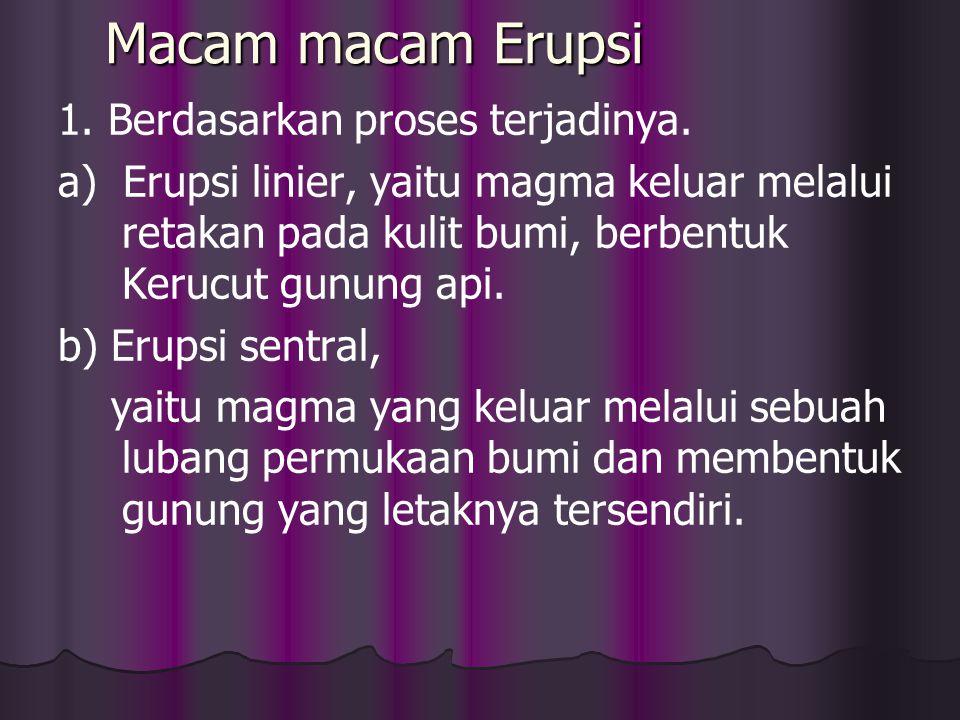 2. Ekstrusi magma / ERUPSI adalah peristiwa penyusupan magma hingga keluar permukaan bumi dan membentuk gunung api. Hal ini terjadi bila tekanan Gas c