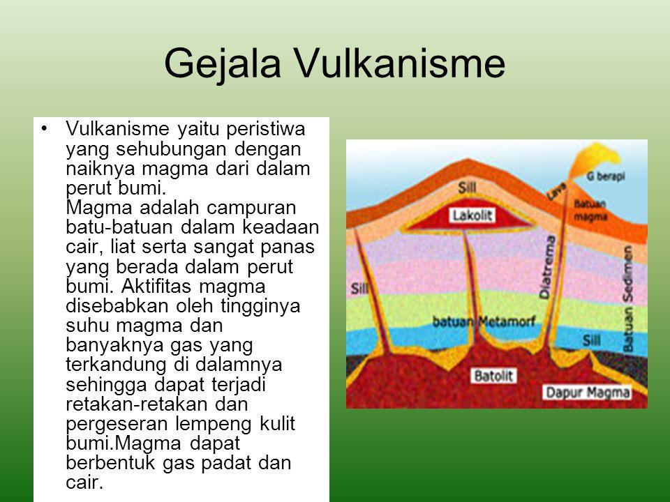 Gejala Vulkanisme Vulkanisme yaitu peristiwa yang sehubungan dengan naiknya magma dari dalam perut bumi. Magma adalah campuran batu-batuan dalam keada