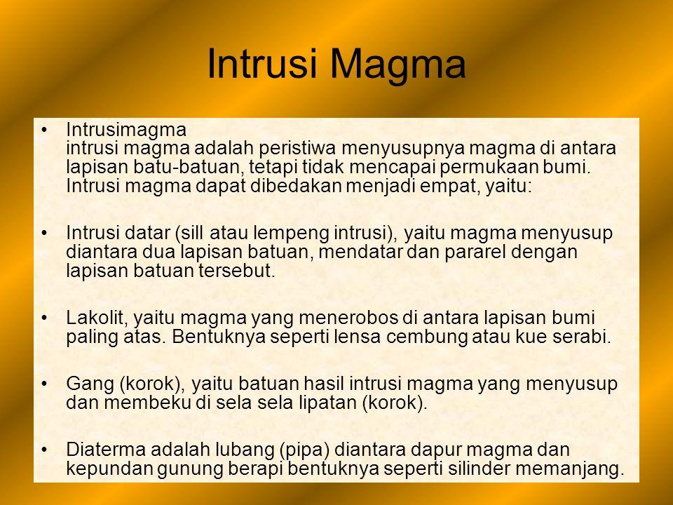 Intrusi Magma Intrusimagma intrusi magma adalah peristiwa menyusupnya magma di antara lapisan batu-batuan, tetapi tidak mencapai permukaan bumi. Intru