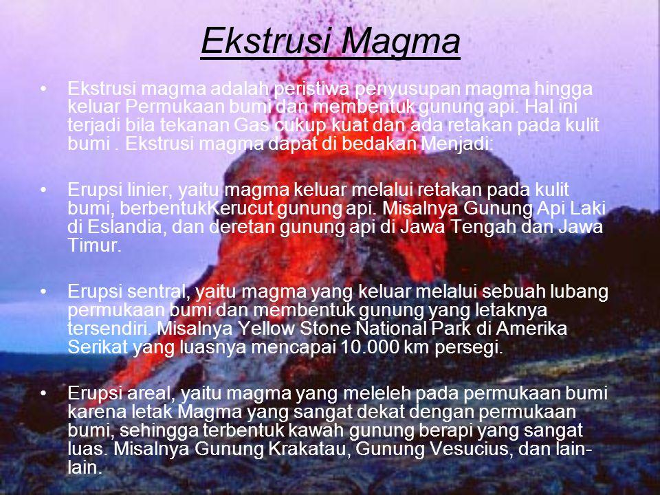 Ekstrusi Magma Ekstrusi magma adalah peristiwa penyusupan magma hingga keluar Permukaan bumi dan membentuk gunung api. Hal ini terjadi bila tekanan Ga