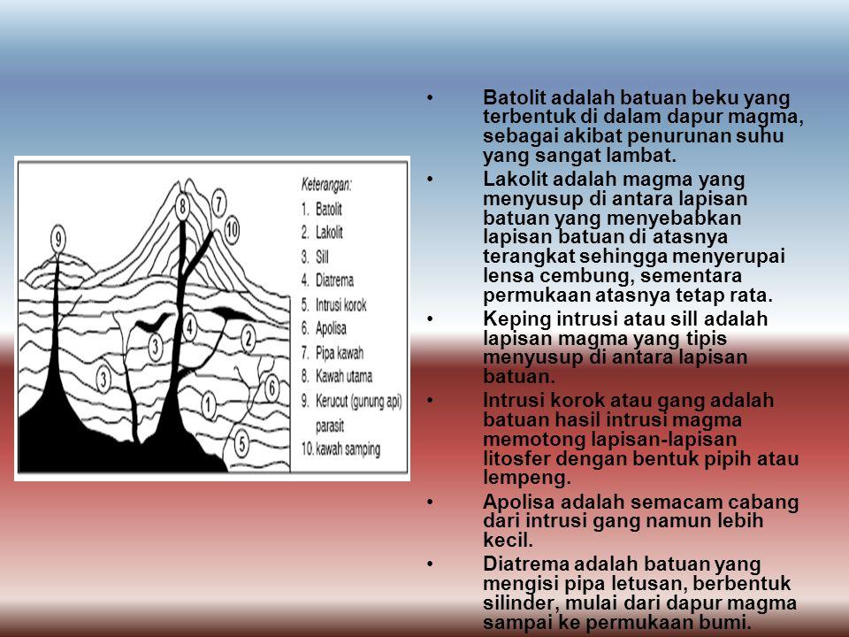 Batolit adalah batuan beku yang terbentuk di dalam dapur magma, sebagai akibat penurunan suhu yang sangat lambat. Lakolit adalah magma yang menyusup d