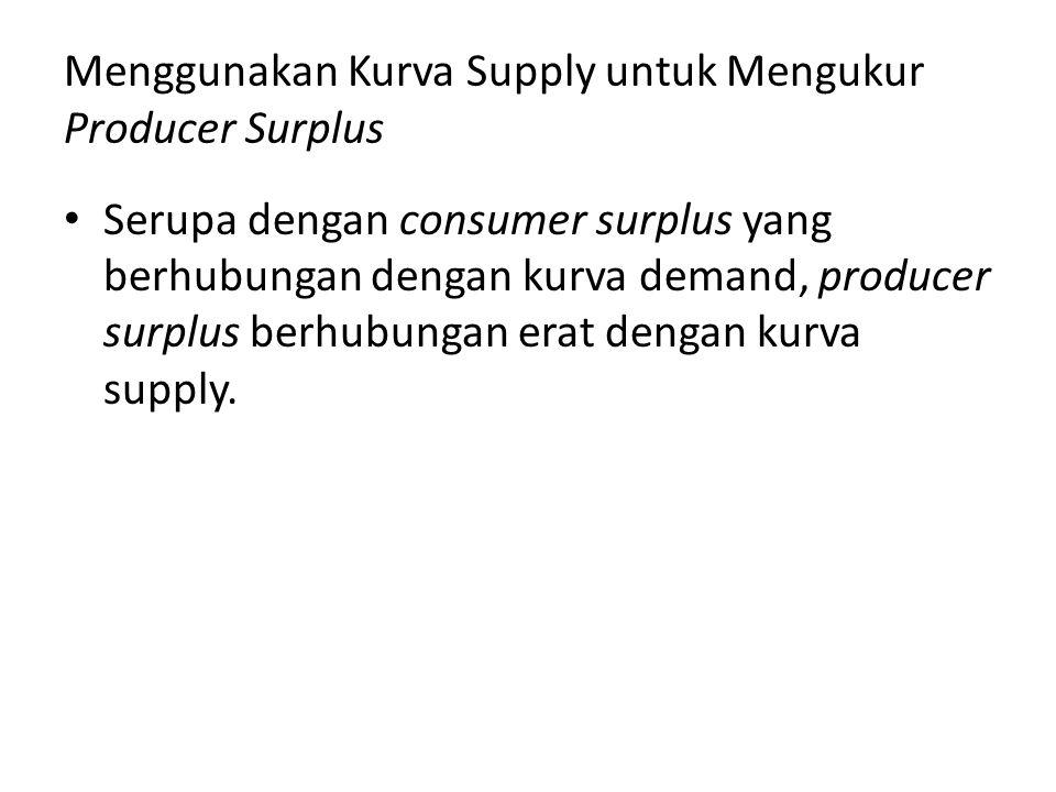 Menggunakan Kurva Supply untuk Mengukur Producer Surplus Serupa dengan consumer surplus yang berhubungan dengan kurva demand, producer surplus berhubu