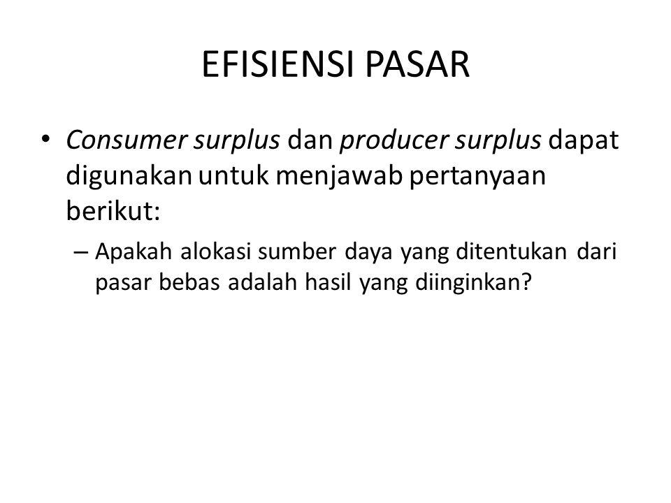 EFISIENSI PASAR Consumer surplus dan producer surplus dapat digunakan untuk menjawab pertanyaan berikut: – Apakah alokasi sumber daya yang ditentukan
