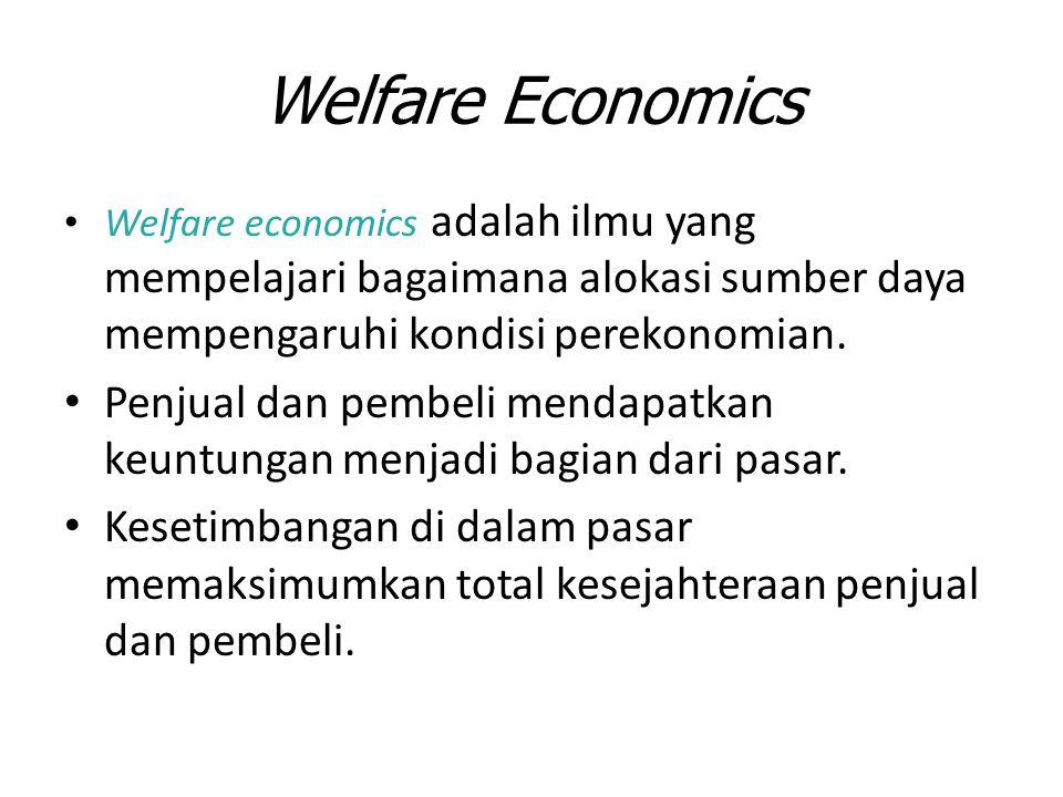 Welfare Economics Welfare economics adalah ilmu yang mempelajari bagaimana alokasi sumber daya mempengaruhi kondisi perekonomian. Penjual dan pembeli