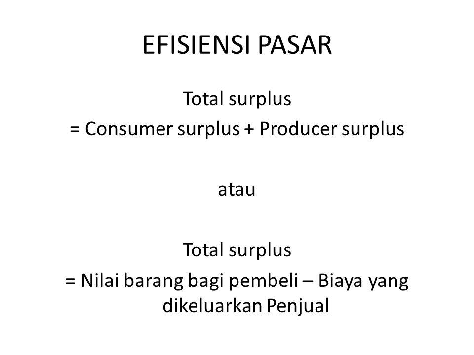 EFISIENSI PASAR Total surplus = Consumer surplus + Producer surplus atau Total surplus = Nilai barang bagi pembeli – Biaya yang dikeluarkan Penjual