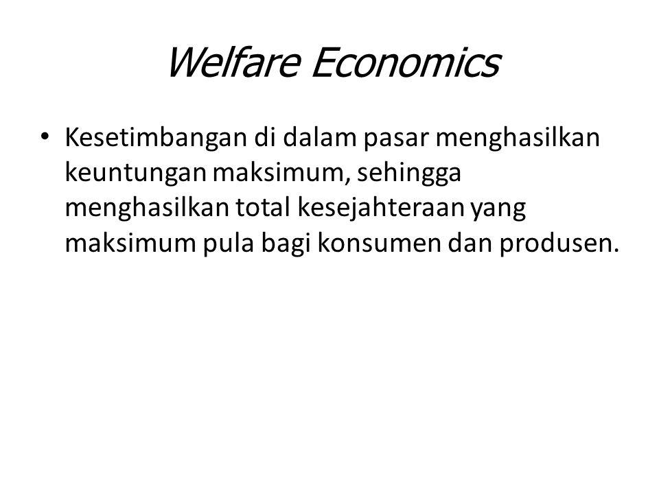 Welfare Economics Kesetimbangan di dalam pasar menghasilkan keuntungan maksimum, sehingga menghasilkan total kesejahteraan yang maksimum pula bagi kon