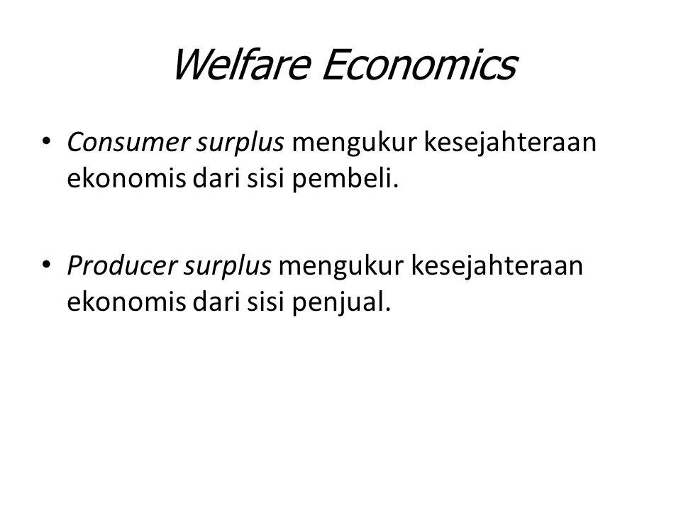 Welfare Economics Consumer surplus mengukur kesejahteraan ekonomis dari sisi pembeli. Producer surplus mengukur kesejahteraan ekonomis dari sisi penju