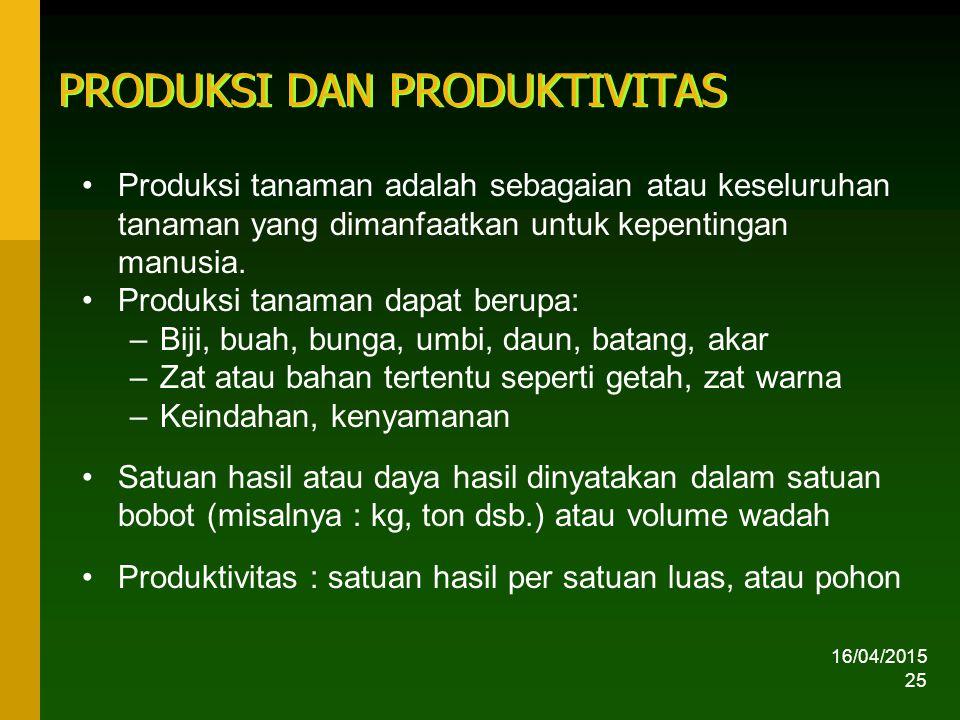 16/04/2015 25 PRODUKSI DAN PRODUKTIVITAS Produksi tanaman adalah sebagaian atau keseluruhan tanaman yang dimanfaatkan untuk kepentingan manusia.