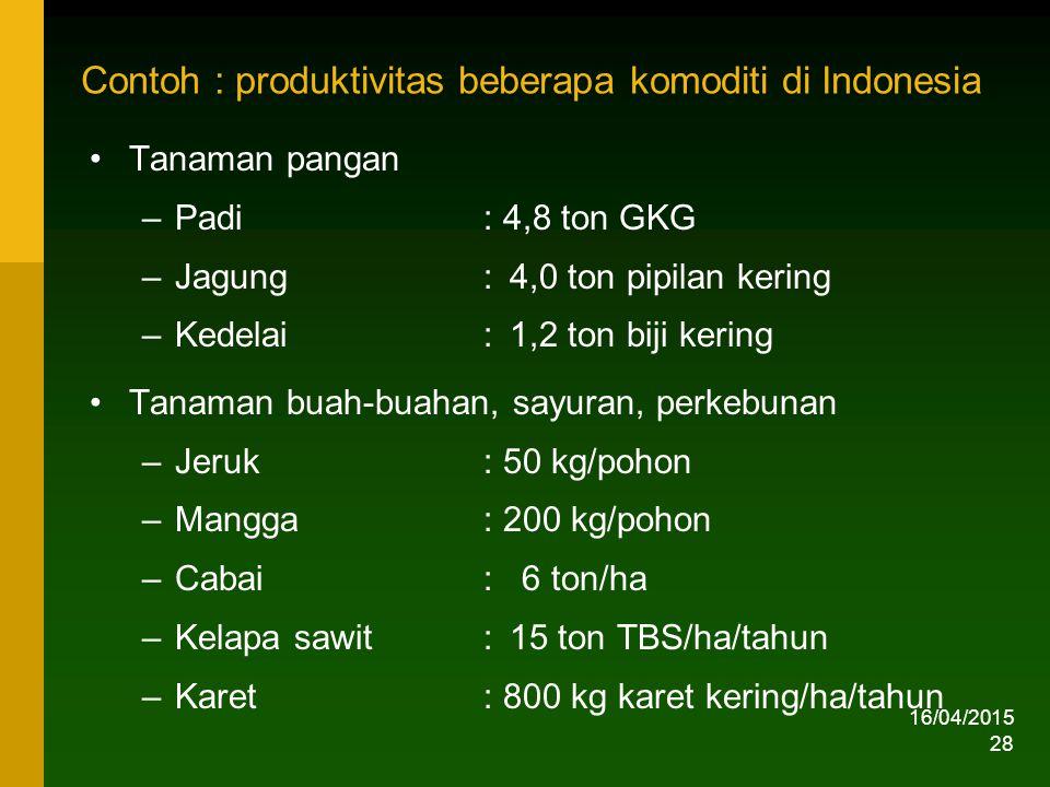 16/04/2015 28 Contoh : produktivitas beberapa komoditi di Indonesia Tanaman pangan –Padi : 4,8 ton GKG –Jagung:4,0 ton pipilan kering –Kedelai:1,2 ton biji kering Tanaman buah-buahan, sayuran, perkebunan –Jeruk: 50 kg/pohon –Mangga: 200 kg/pohon –Cabai: 6 ton/ha –Kelapa sawit:15 ton TBS/ha/tahun –Karet: 800 kg karet kering/ha/tahun