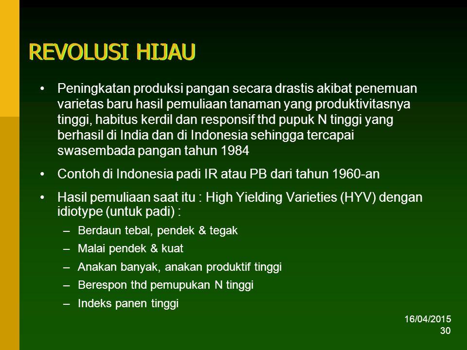 16/04/2015 30 REVOLUSI HIJAU Peningkatan produksi pangan secara drastis akibat penemuan varietas baru hasil pemuliaan tanaman yang produktivitasnya tinggi, habitus kerdil dan responsif thd pupuk N tinggi yang berhasil di India dan di Indonesia sehingga tercapai swasembada pangan tahun 1984 Contoh di Indonesia padi IR atau PB dari tahun 1960-an Hasil pemuliaan saat itu : High Yielding Varieties (HYV) dengan idiotype (untuk padi) : –Berdaun tebal, pendek & tegak –Malai pendek & kuat –Anakan banyak, anakan produktif tinggi –Berespon thd pemupukan N tinggi –Indeks panen tinggi