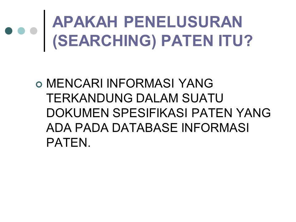 PENELUSURAN INFORMASI PATEN DAN KLASIFIKASI PATEN  Ahdiar Romadoni KM HaKI ITB doni@ipr.itb.ac.id