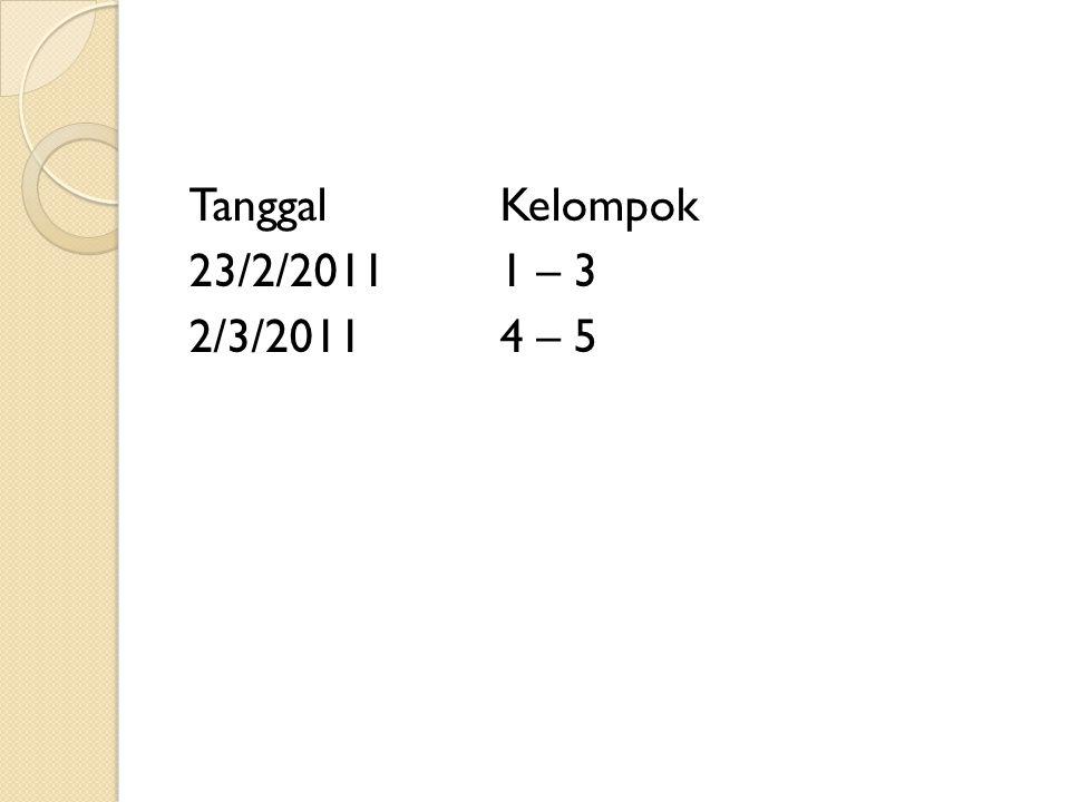 TanggalKelompok 23/2/20111 – 3 2/3/20114 – 5