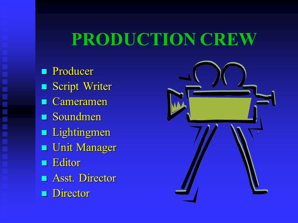 PRODUCTION CREW Producer Producer Script Writer Script Writer Cameramen Cameramen Soundmen Soundmen Lightingmen Lightingmen Unit Manager Unit Manager