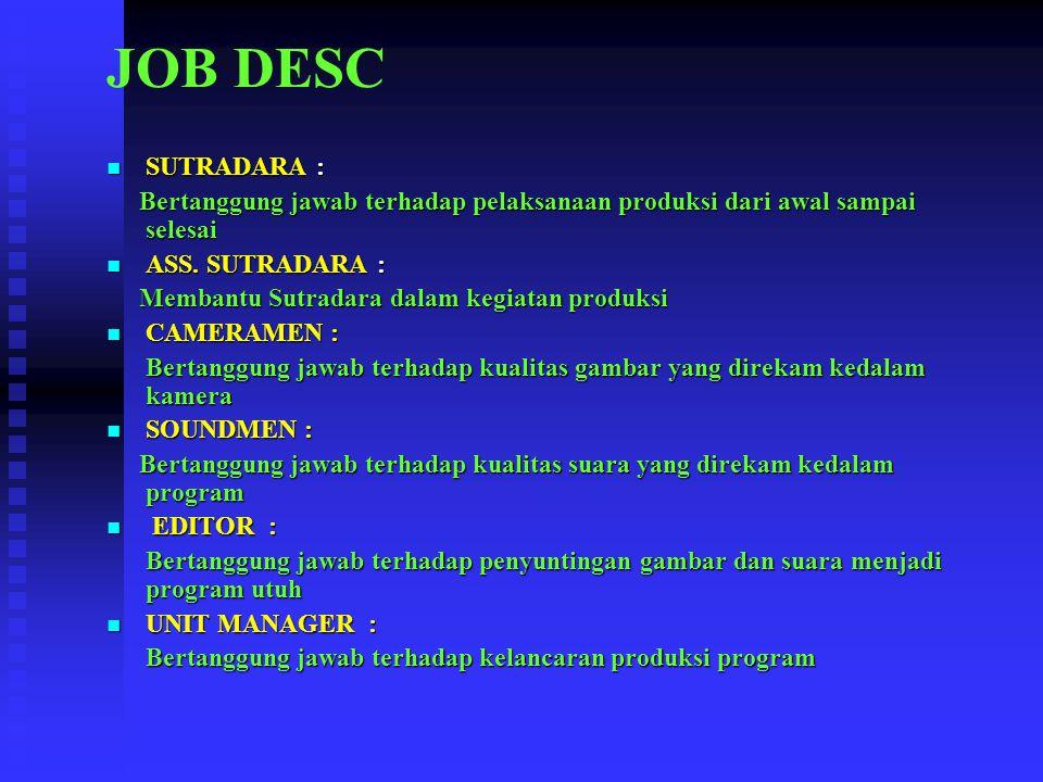JOB DESC SUTRADARA : SUTRADARA : Bertanggung jawab terhadap pelaksanaan produksi dari awal sampai selesai Bertanggung jawab terhadap pelaksanaan produksi dari awal sampai selesai ASS.
