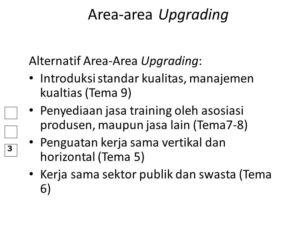 Area-area Upgrading Alternatif Area-Area Upgrading: Introduksi standar kualitas, manajemen kualtias (Tema 9) Penyediaan jasa training oleh asosiasi pr
