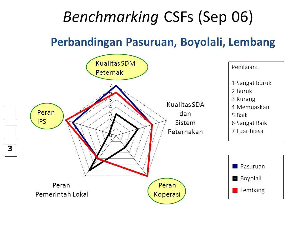 Benchmarking CSFs (Sep 06) Perbandingan Pasuruan, Boyolali, Lembang Penilaian: 1 Sangat buruk 2 Buruk 3 Kurang 4 Memuaskan 5 Baik 6 Sangat Baik 7 Luar