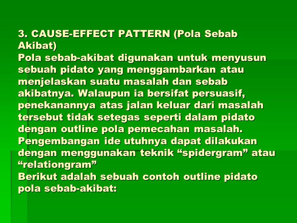 3. CAUSE-EFFECT PATTERN (Pola Sebab Akibat) Pola sebab-akibat digunakan untuk menyusun sebuah pidato yang menggambarkan atau menjelaskan suatu masalah