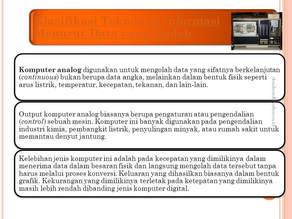 Komputer digital Komputer digital digunakan untuk mengolah data dalam bentuk angka atau huruf.
